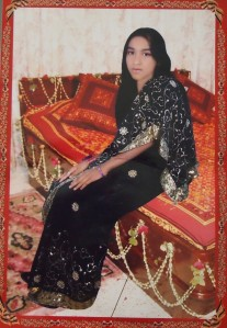 Hena, 19 years old, picture taken in a photo studio near Nishchintapur. Missing.