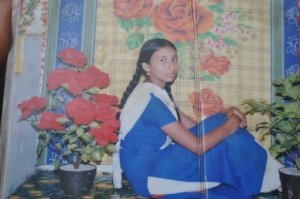 Mahfuja, the photo was taken when she was a student of class VII, in a studio in Bhurungamari, Kurigram. Missing.