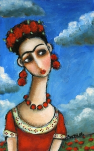 Image@Frida Kahlo Blue Sky Folk Art Painting by Wendy Ryan