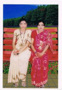 Sumaya with her friend Mita, Studio photograph taken at RatnaStudio at Nischintapur, Ashulia