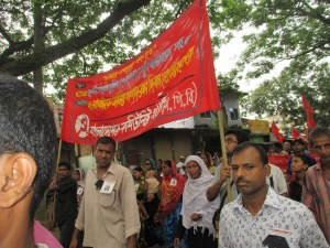 The Communist Party of Bangladesh in the rally.