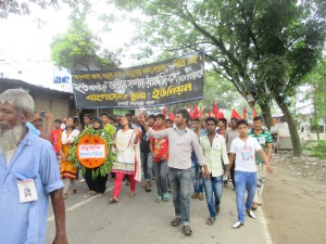 Student organization Bangladesh Chatro Union in the rally.