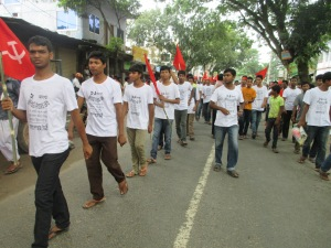 Student organization Bangladesh Chatro Moitree in the rally.