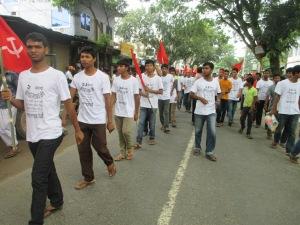 Student organization Bangladesh Chatro Moitree in the rally.