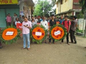Cultural activist group Shangskritir Naya Setu is waiting to join the rally.