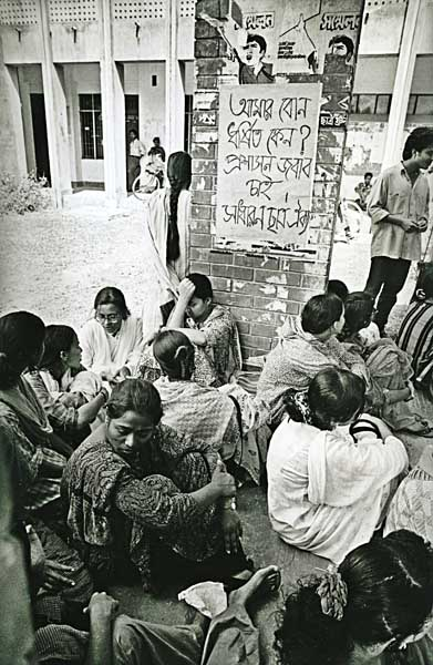 A sit-in protest against rape in campus, brought out by the students union, in Jahangir Nagar University, in Dhaka, Bangladesh. August 24, 1998.@Abir Abdullah